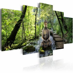 Karo-art Schilderij - Boeddha - In het bos, Groen, 5luik