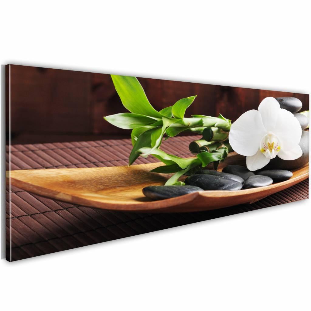Schilderij - A mystery of Zen , bloem op schaal , wit bruin , 1 luik , 150x50