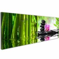 Schilderij - Land van Zen 150X50cm , groen , 1luik