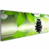Schilderij - Natuur en zen 150X50cm , groen , 1 luik