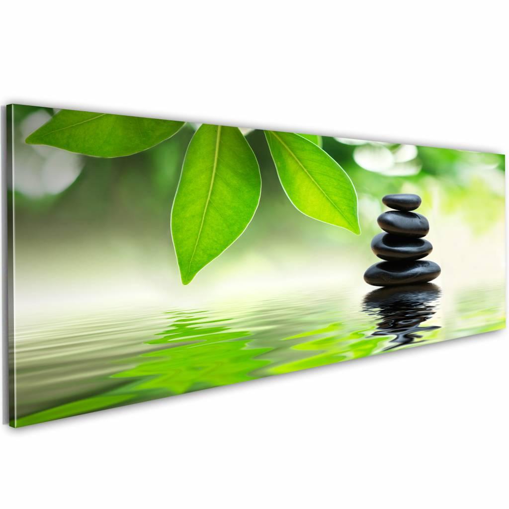 Schilderij - Natuur en zen 150X50 , groen , 1 luik