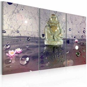 Schilderij - Boeddha Beeld, Paars, 2 Maten, 3luik