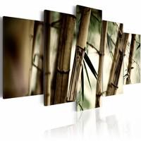 Schilderij - Aziatische Bamboe Bos, Bruin, 5luik, wanddecoratie
