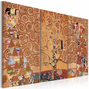 Schilderij - Levensboom, wanddecoratie, multikleur , print op canvas ,3 maten, 3luik
