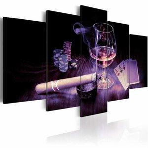 Schilderij - Mannen Entertainment - Whiskey en Sigaar , zwart bruin , 5 luik  , 2 maten