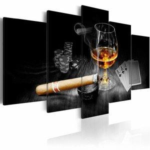 Schilderij - Duister Geheim - Whiskey en Sigaar , bruin , zwart , 5 luik