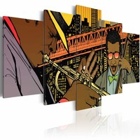 Schilderij - Jazz in comic, Multi-gekleurd, 2 Maten, 5luik