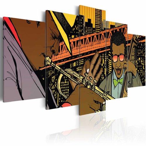 Schilderij - Jazz in comic, Multi-gekleurd, 5luik