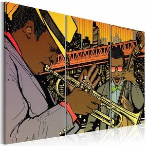 Schilderij - Jazz muzikanten, Multi-gekleurd, 2 Maten, 3luik
