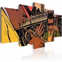 Schilderij - Jazzy NYC, Multi-gekleurd, 2 Maten, 3luik