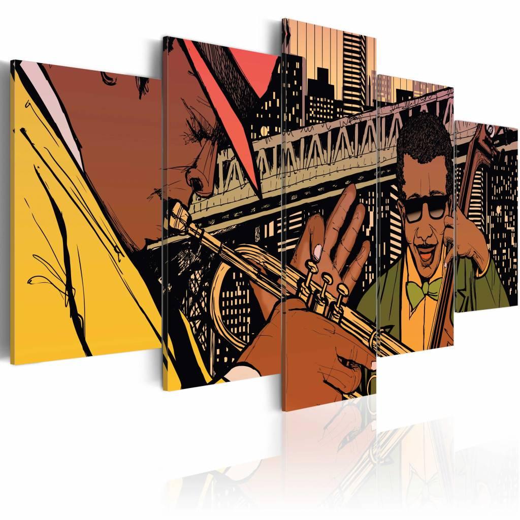 Schilderij - Jazzy NYC, 5 luik, Multikleur, 2 maten, Premium print