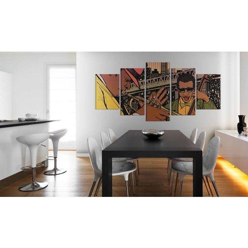 Schilderij - Jazzy NYC, Multi-gekleurd, 5luik