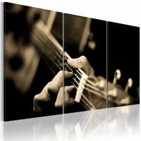 Canvas Schilderij - Magische gitaarklanken, Sepia, 2 Maten, 3luik