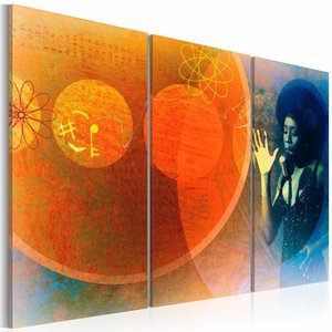 Canvas Schilderij - Recital, Oranje/Blauw, 2 Maten, 3luik