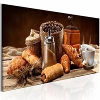 Schilderij - Ochtend Genot  , broodjes en koffie , bruin