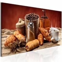 Schilderij - Ochtend Genot, broodjes en koffie , bruin