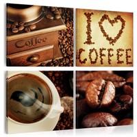Schilderij - Ik hou van koffie, 4 luik, Multikleur, 4 maten, Premium print