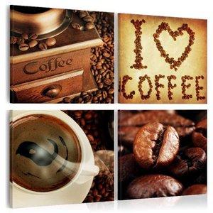Schilderij - Ik hou van koffie, Bruin, 3 Maten, 4luik