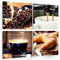 Schilderij - Koffie en croissant, Bruin, 3 Maten, 4luik