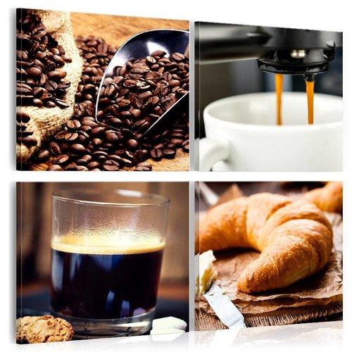 Schilderij - Koffie en croissant, 4luik