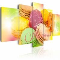 Schilderij - Cocktail Macarons II , pastel multi kleur , 5 luik , 2 maten