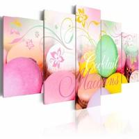 Schilderij - Macarons, 5 luik, Multikleur, 2 maten, Premium print