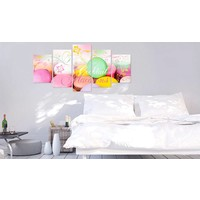 Schilderij - Macarons, Multi-gekleurd, 5luik