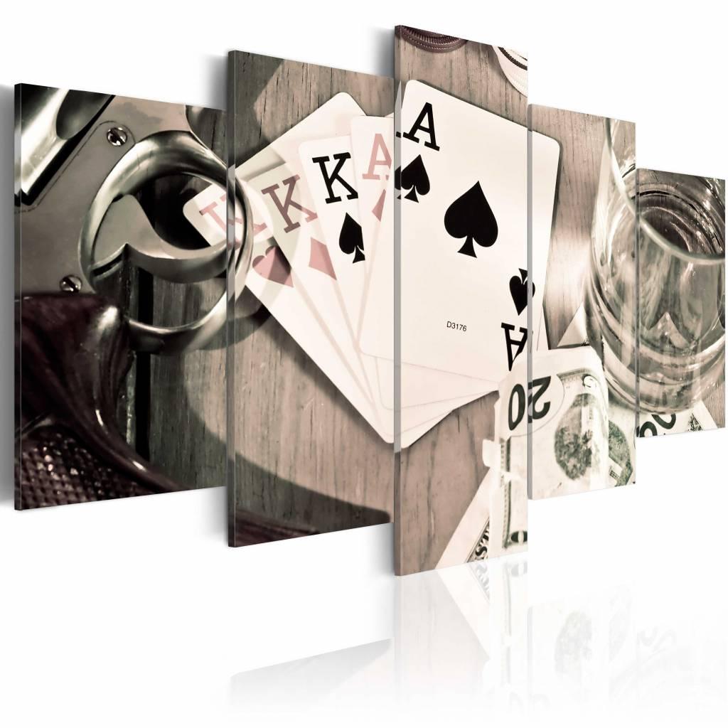 Schilderij - Poker Avond , sepia , 5 luik , 2 maten