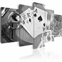 Canvas Schilderij - Poker avond  , Zwart Wit , 5 luik , 2 maten