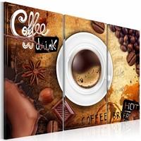 Schilderij - Kopje Koffie, 3 luik, Bruin/wit, 3 maten, Premium print