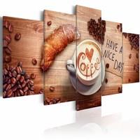 Canvas Schilderij - Have a nice day!  Koffie en croissant. Bruin, 2 Maten, 5luik