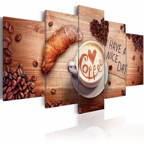 Schilderij - Have a nice day! Koffie en croissant. 5luik