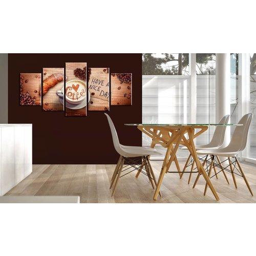 Schilderij - Have a nice day! Koffie en croissant, 5 luik, bruin/wit, 2 maten, Premium print