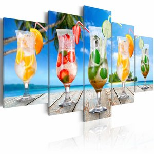 Schilderij - Zomer drankjes, cocktails, Multi-gekleurd, 2 Maten, 5luik