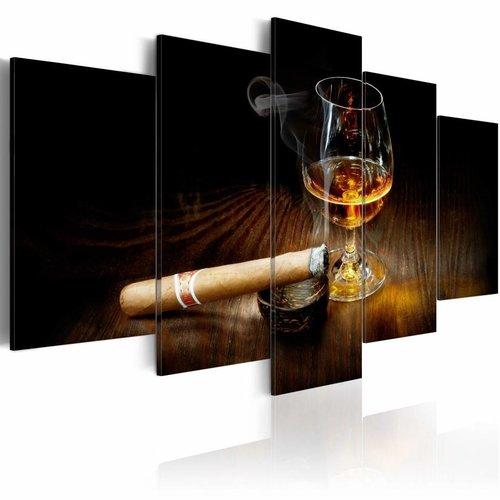 Schilderij - Moment of glory, sigaar en drankje, 5 luik, Zwart/Bruin, 2 maten, Premium print