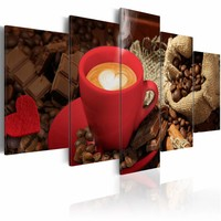 Schilderij - Love espresso, koffie, 5 luik, Bruin/Rood, 2 maten, Premium print
