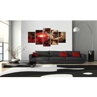 Schilderij - Love espresso, koffie, Bruin/Rood, 5luik