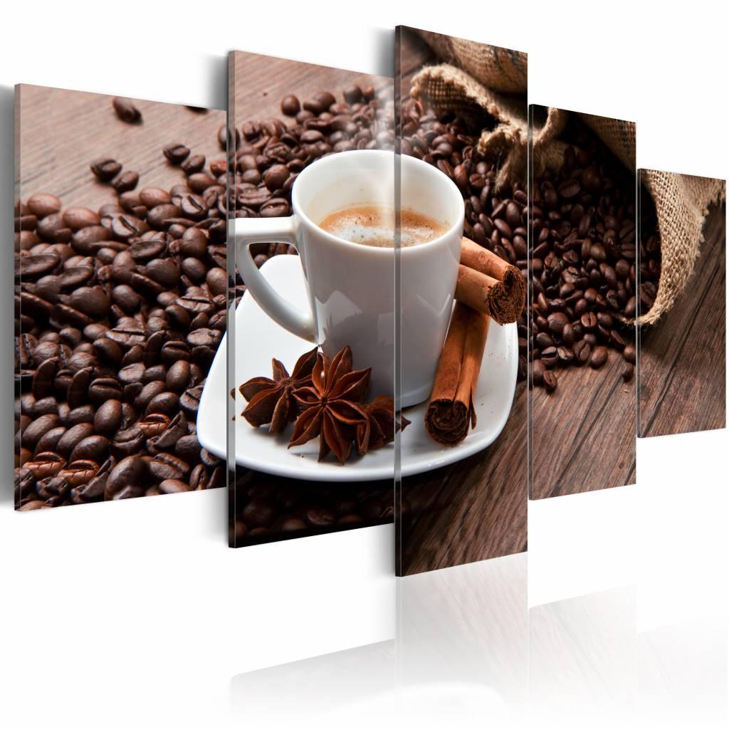 Schilderij - Goede start van de dag, koffie, 5luik