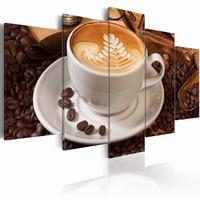 Schilderij - De essentie van de ochtend, koffie, 5 luik, Bruin/Wit, 2 maten, Premium print
