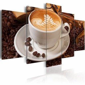 Schilderij - De essentie van de ochtend, koffie, Bruin, 2 Maten, 5luik