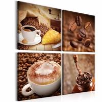 Canvas Schilderij - Koffie Collage, Bruin, 2 Maten, 4luik