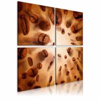 Schilderij - De energie van koffie, Bruin, 2 Maten, 4luik