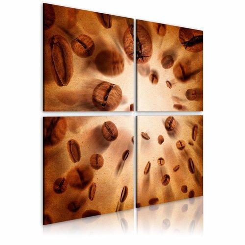 Schilderij - De energie van koffie, 4luik