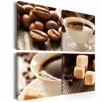 Schilderij - Kopje koffie in 4 delen, 4 luik, Bruin/Wit, 4 maten, Premium print