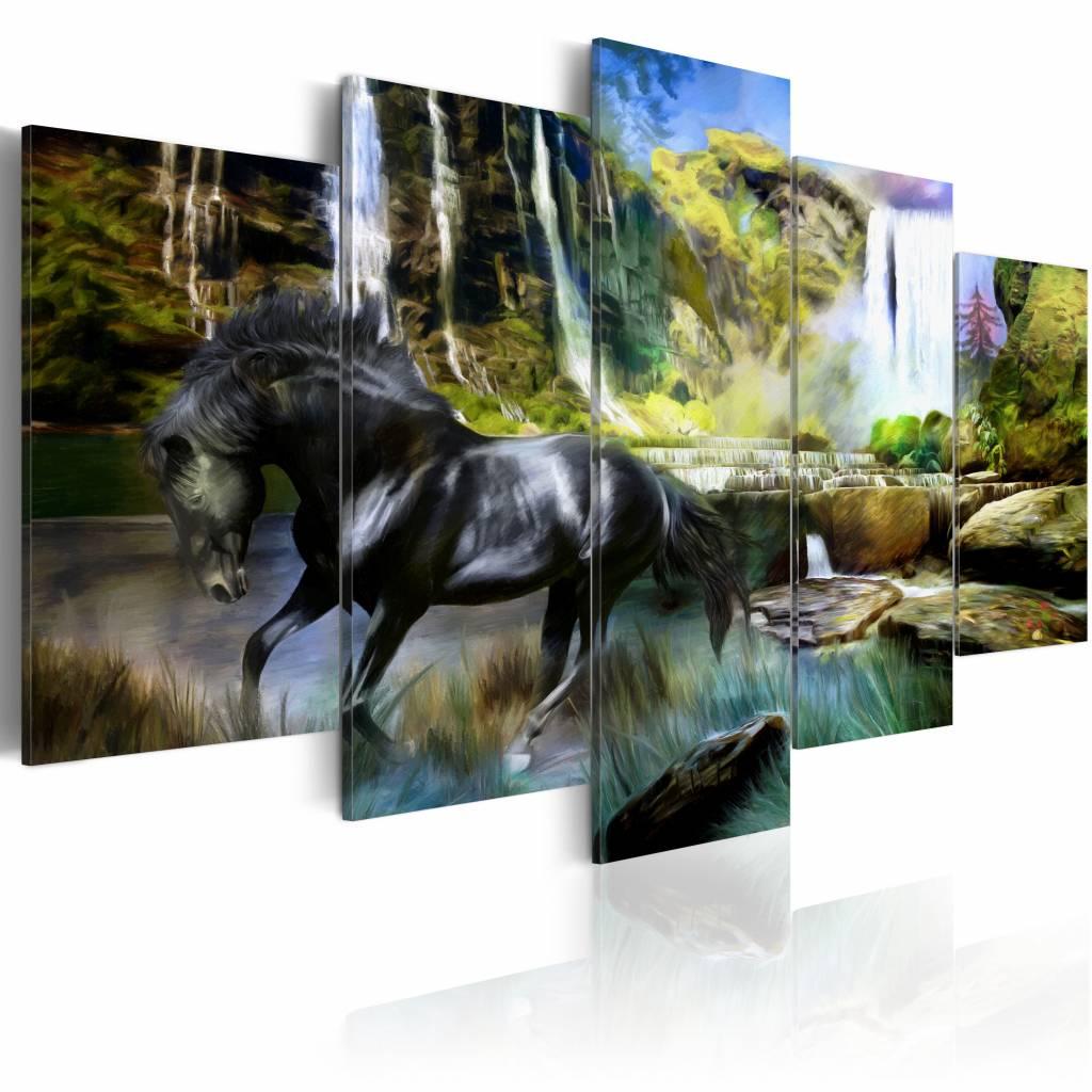 Schilderij - Zwart Paard voor Waterval IV, zwart/groen/blauw, Premium print , wanddecoratie ,5luik