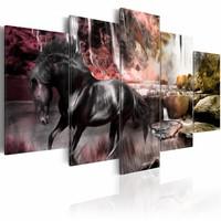 Schilderij - Zwart Paard voor Waterval V, Wanddecoratie , print op canvas , 5luik