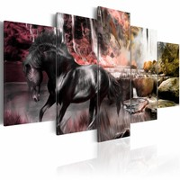 Schilderij Zwart paard voor waterval V, zwart/roze, 5 delen, 2 maten