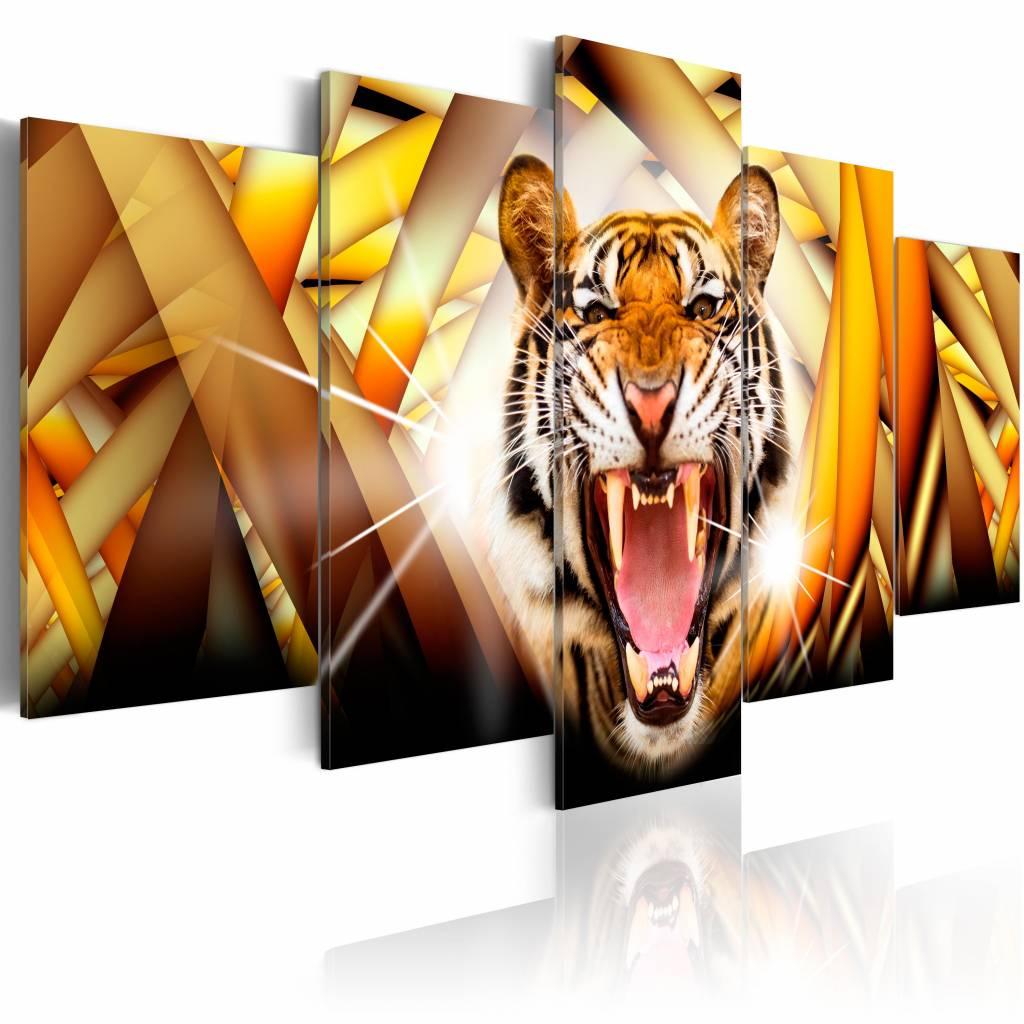 Schilderij Energie van een tijger, geel/oranje, 5 delen, 2 maten