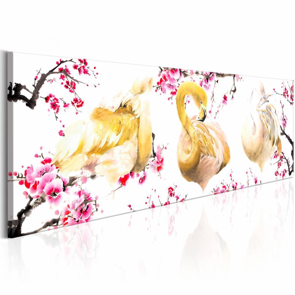 Schilderij - Gouden Flamingo's , roze goud , 1 luik , 3 maten