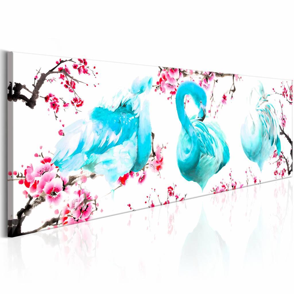 Schilderij - Flamingo's tussen de Bomen , roze blauw , 1 luik , 3 maten